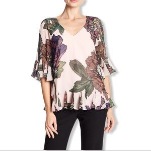 Badgley Mischka | Floral Print Tie Back Blouse